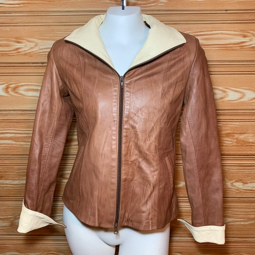 Vera Pelle Soft Brown Leather Zip Up S