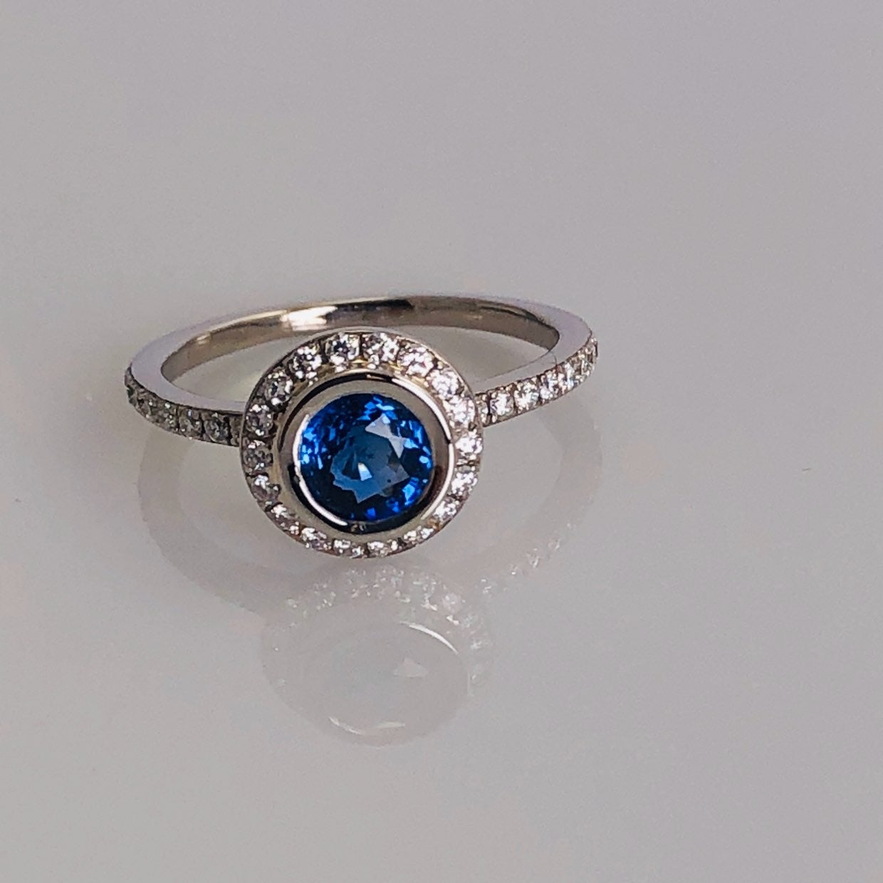 Natural Sapphire & Diamond Halo Ring