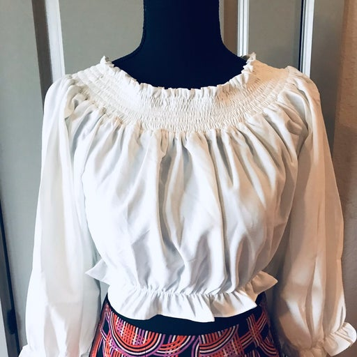 NWT CPS Chaps White Cropped Blouse M Wom
