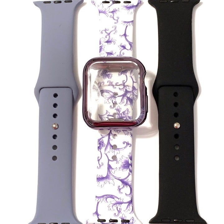 3 S/M 44mm 42mm band purple print + case