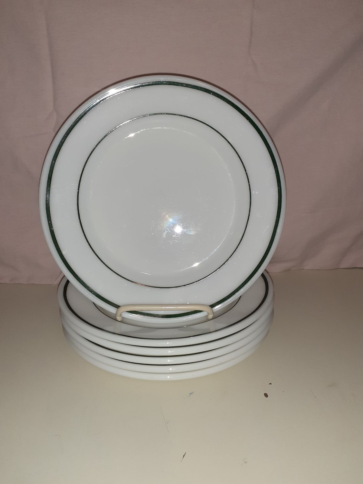 "6 Corning Decor 9"" Plates GREEN BAND Opa"