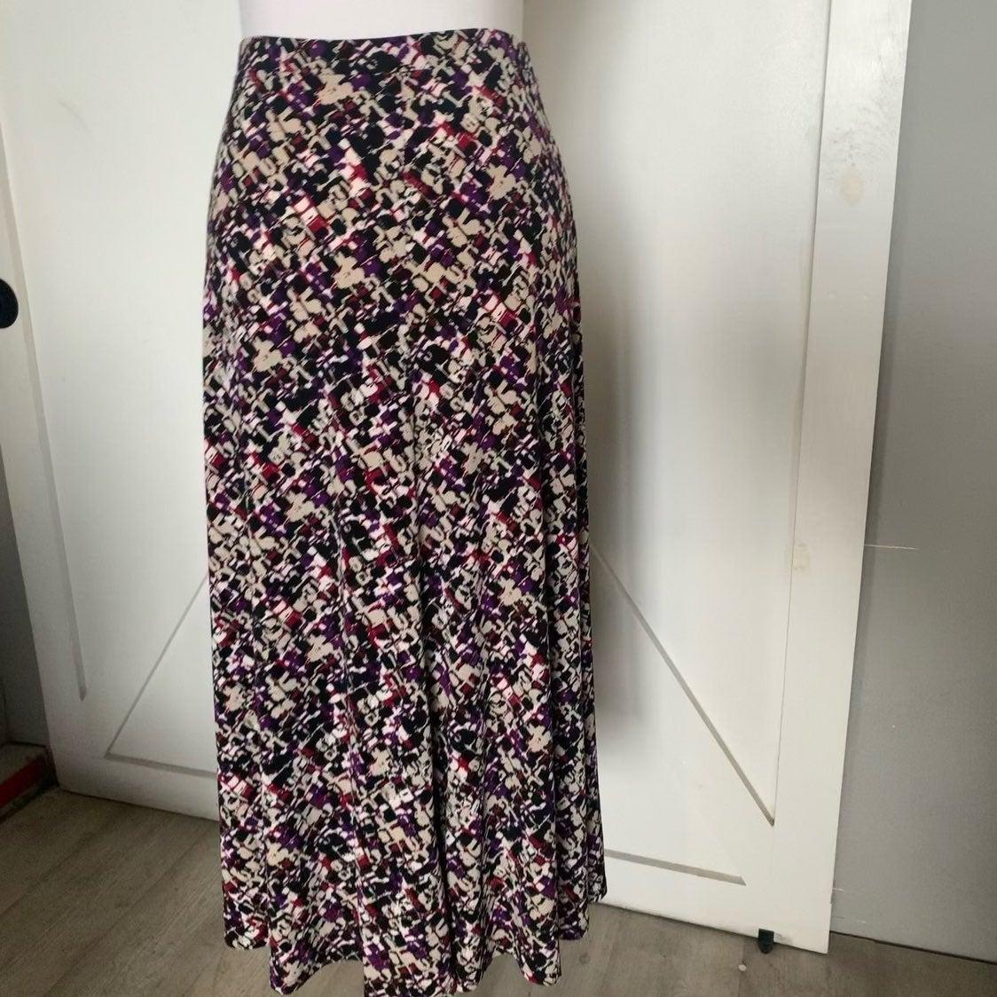 Purple & Black abstract midi skirt