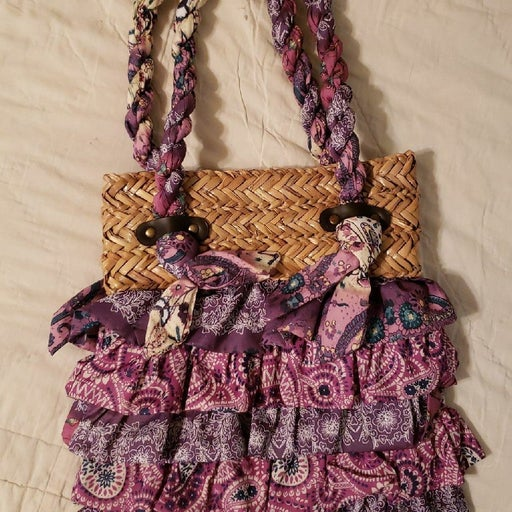 New Straw and Fabric Purse