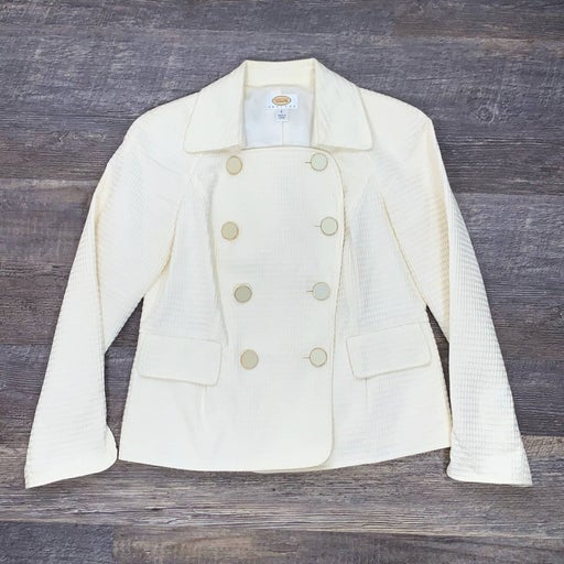 Talbots off white lined pea coat