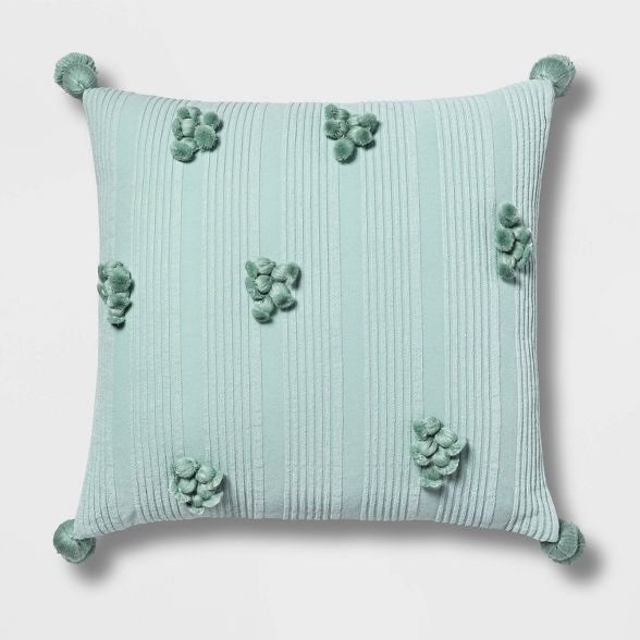 Mint Square Cotton Ribbed Throw Pillow