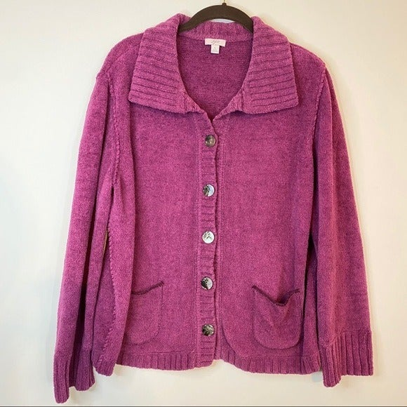 J. Jill Button Down Fuchsia Sweater size