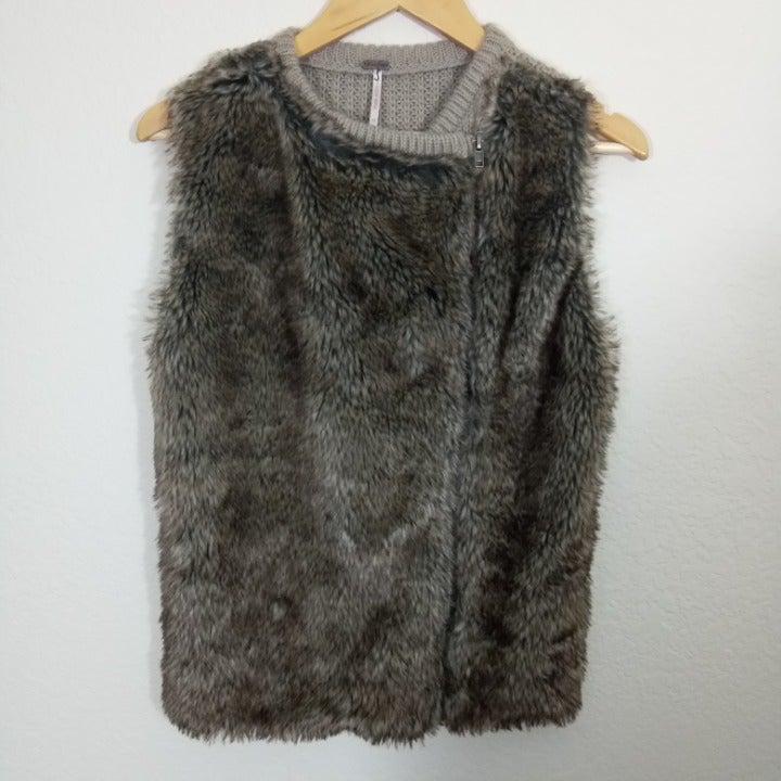 Poof | Brown Faux Fur Vest - Medium