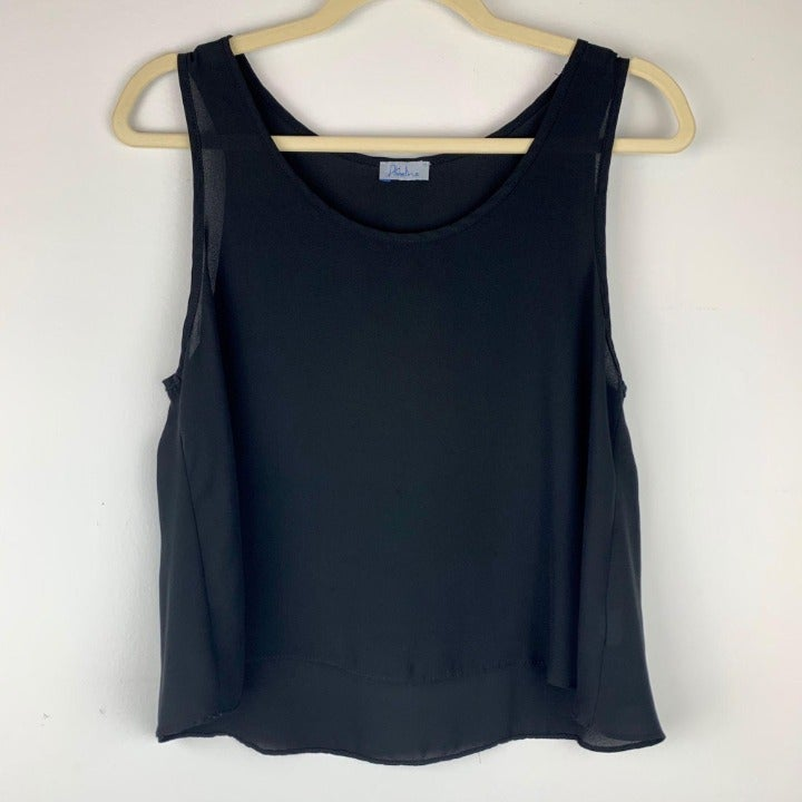 Abbeline Basic Black Sheer Crop Top