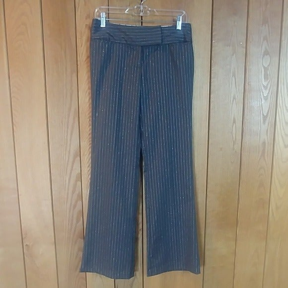 Gray Silver Stripe Dress Pant Junior 3/4