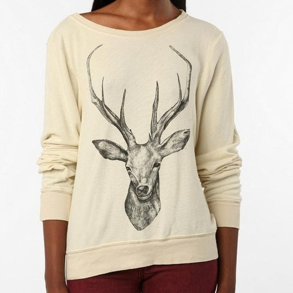 Wildfox Couture Stag Deer Baggy Sweater