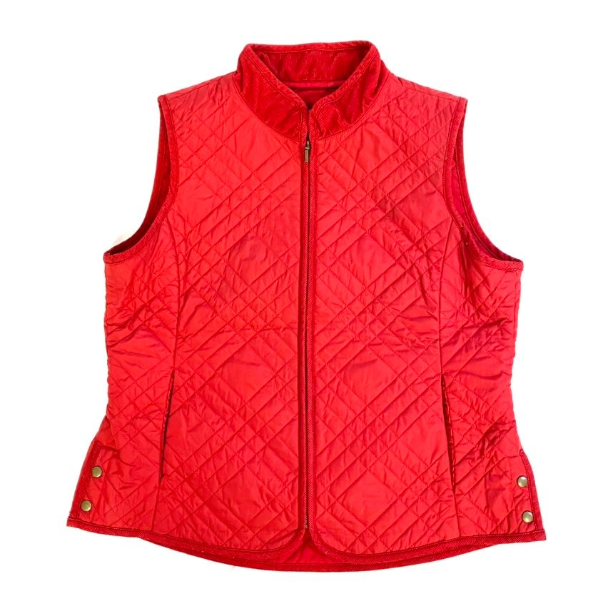 j jill red quilted vest