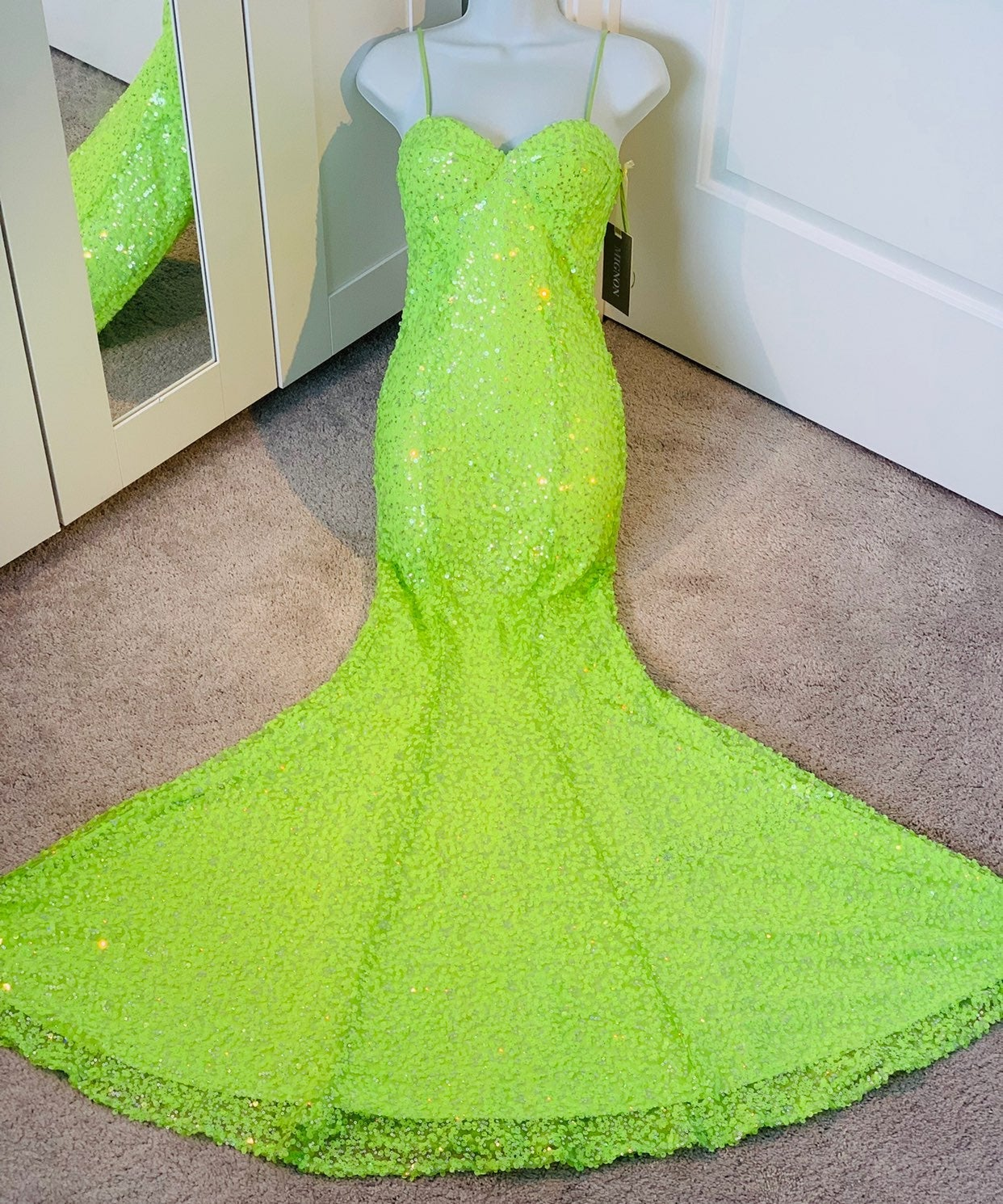 Mignon VM1258 Lime Sequins Gown Dress NW