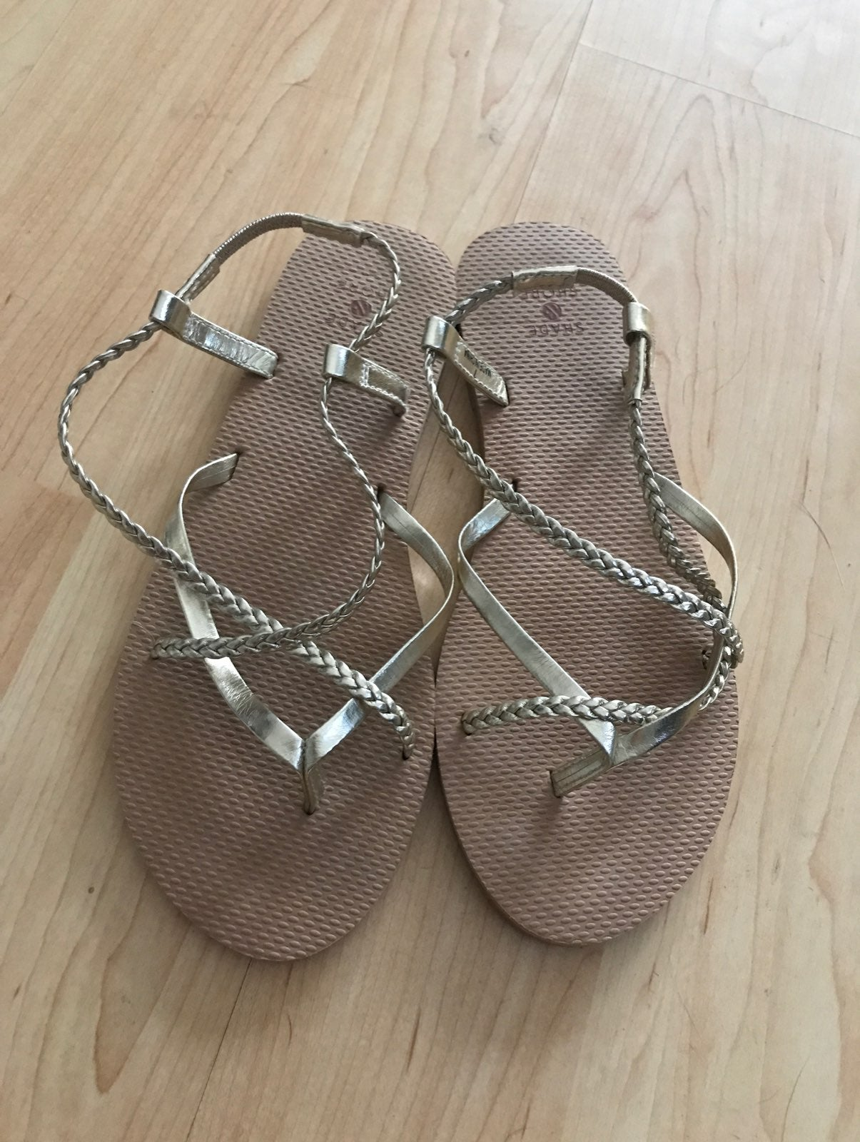 shade & shore gold braided sandals