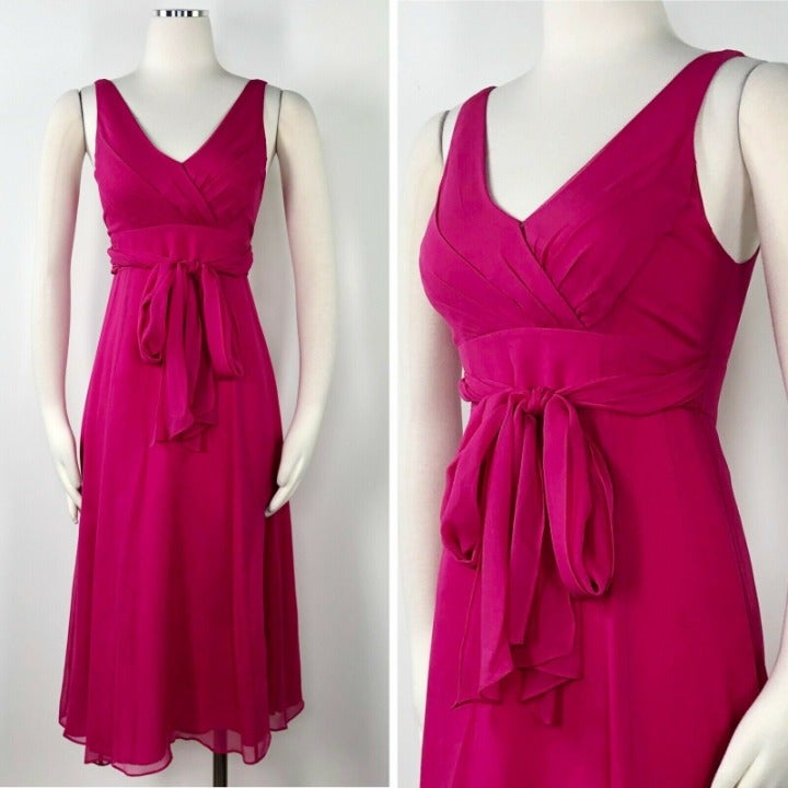 L.K. Bennett 2 Pink Silk Chiffon Dress E