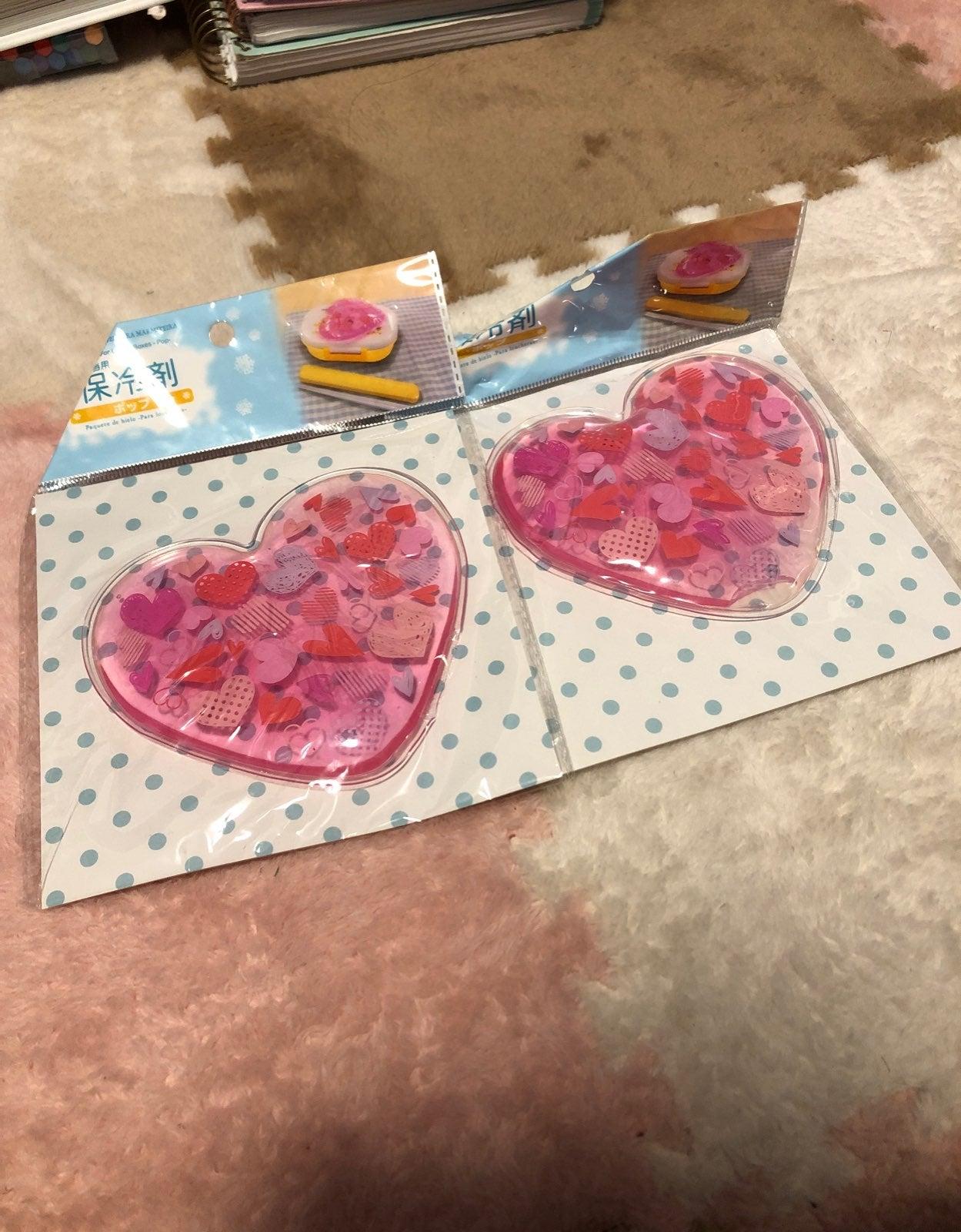 Two heart shape gel ice packs
