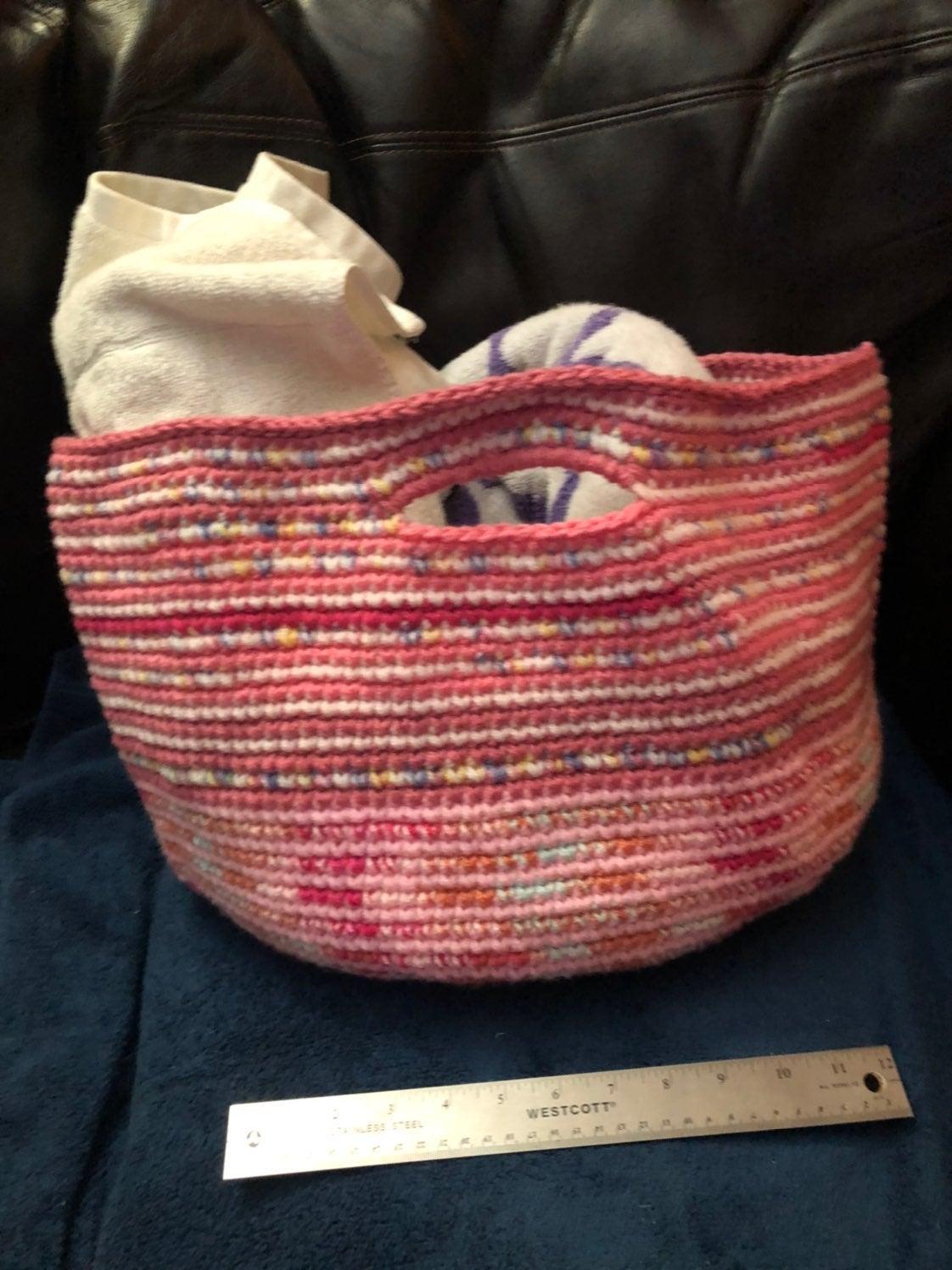 Large pink handmade crochet basket