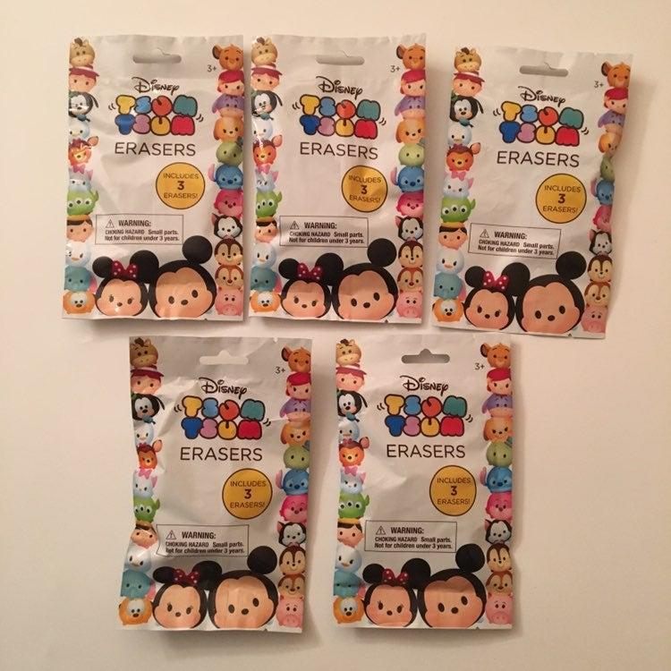 5 Sealed Disney Tsum Tsum 3 Pack Erasers