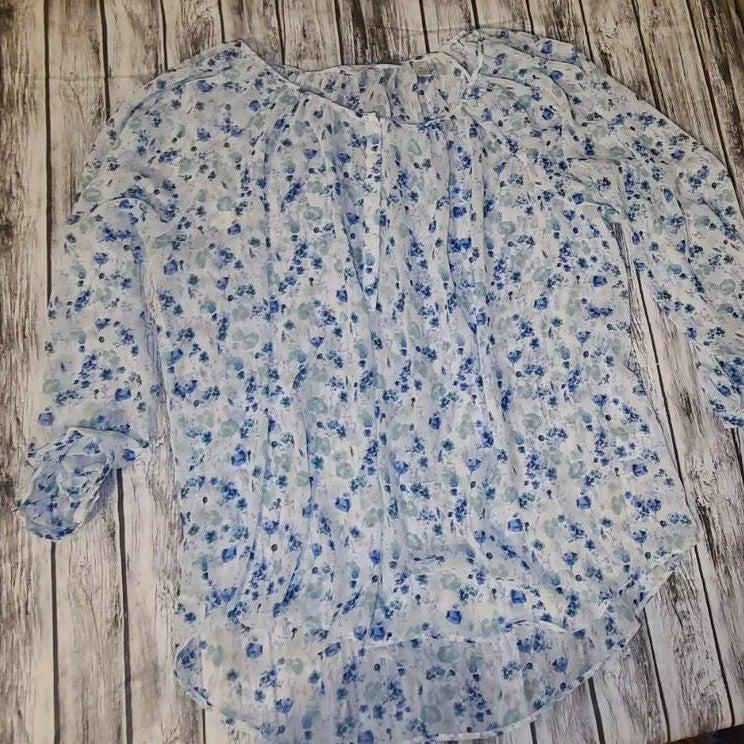 Lauren Conrad Blue Floral Blouse