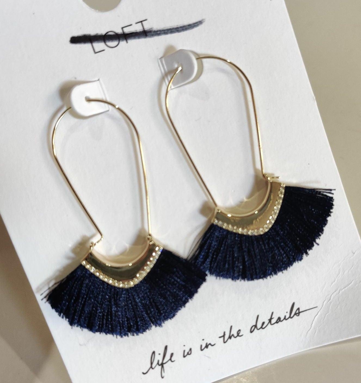 Loft Navy Fringe Earrings