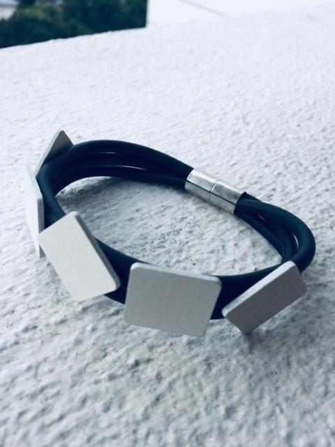 Bracelet, Black Rubber, Contemporary