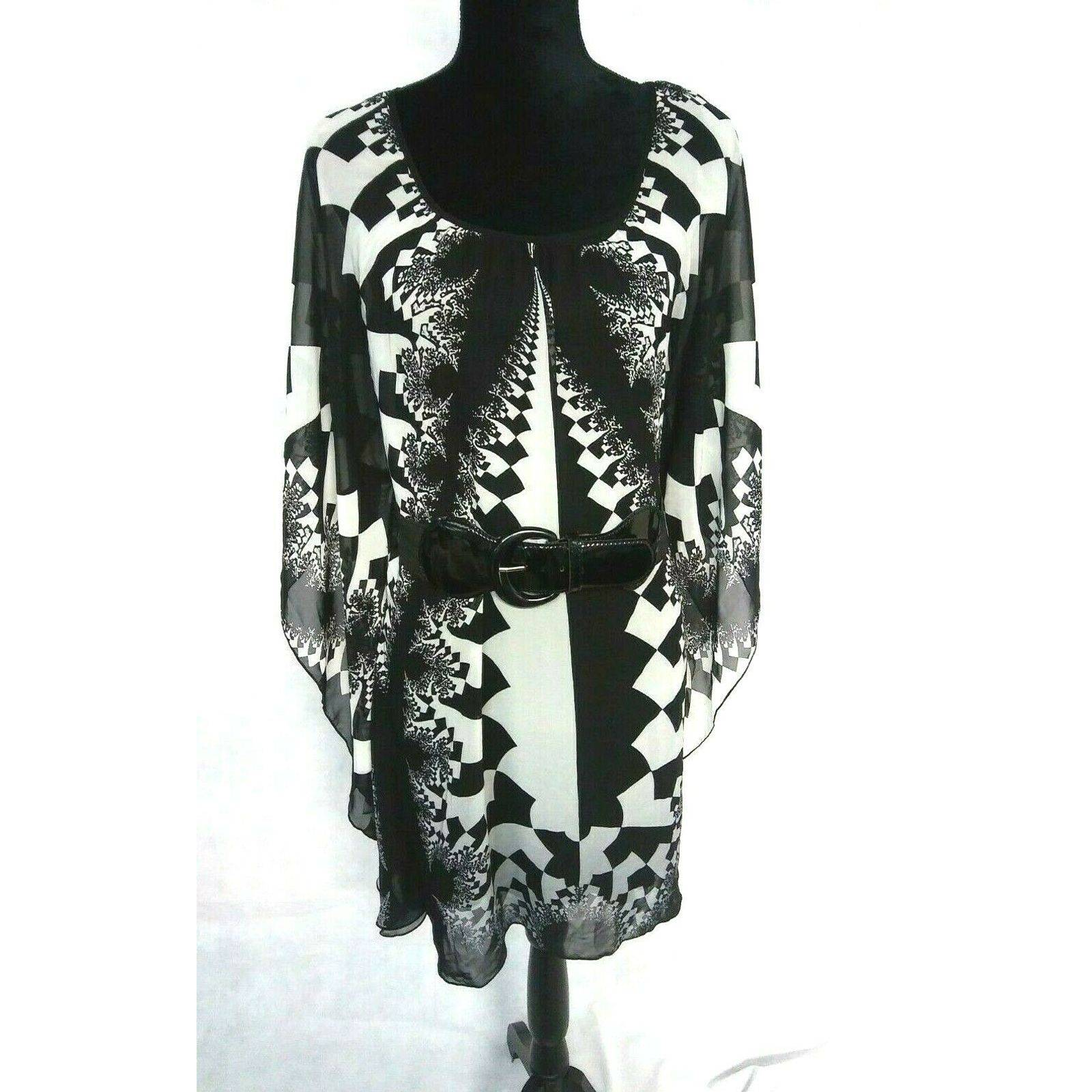 Bisou Bisou Tunic Top Sz 8 Belted