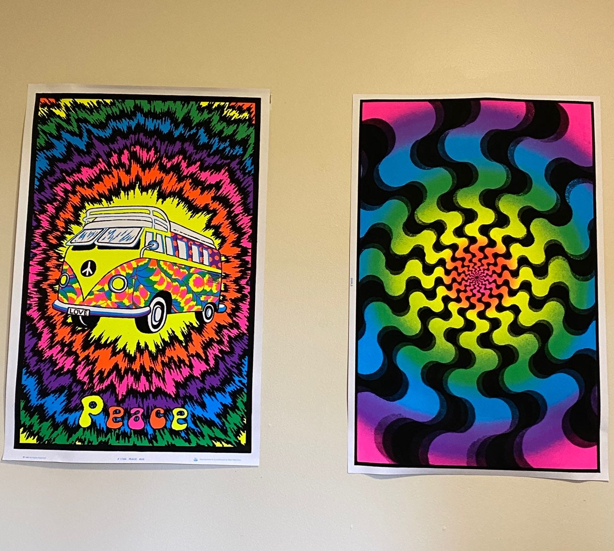 Psychadelic posters (two) UV blacklight