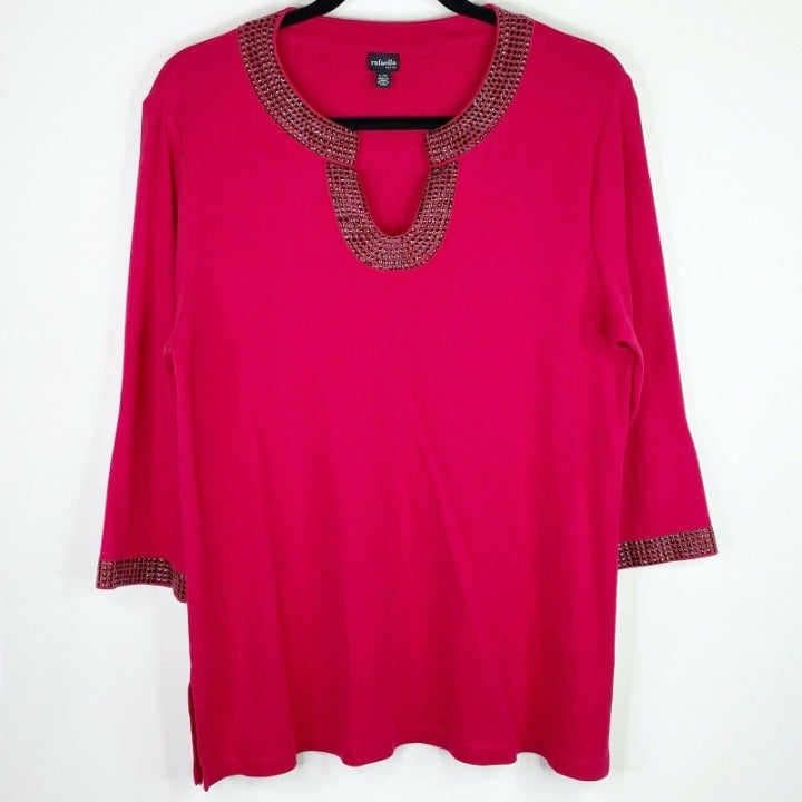 Rafaella Studded Red Top Shirt Large