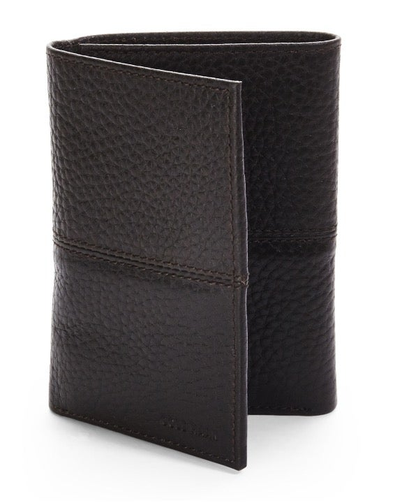 COLE HAAN Black Leather Trifold Wallet