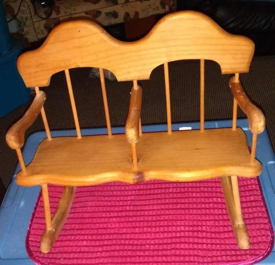 Doll chair double wooden rocker vintage