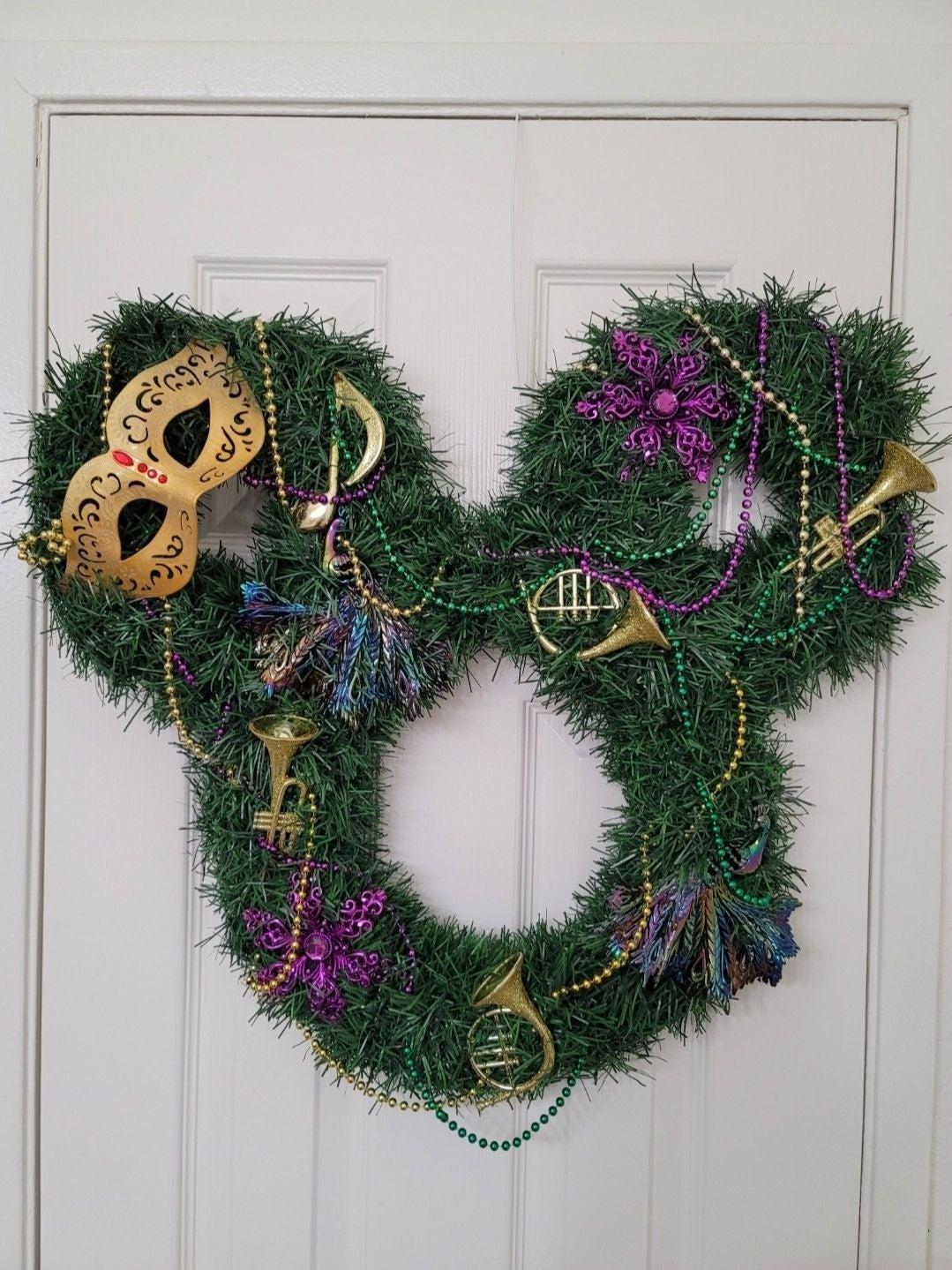 Disney Mickey Mardi Gras Wreath