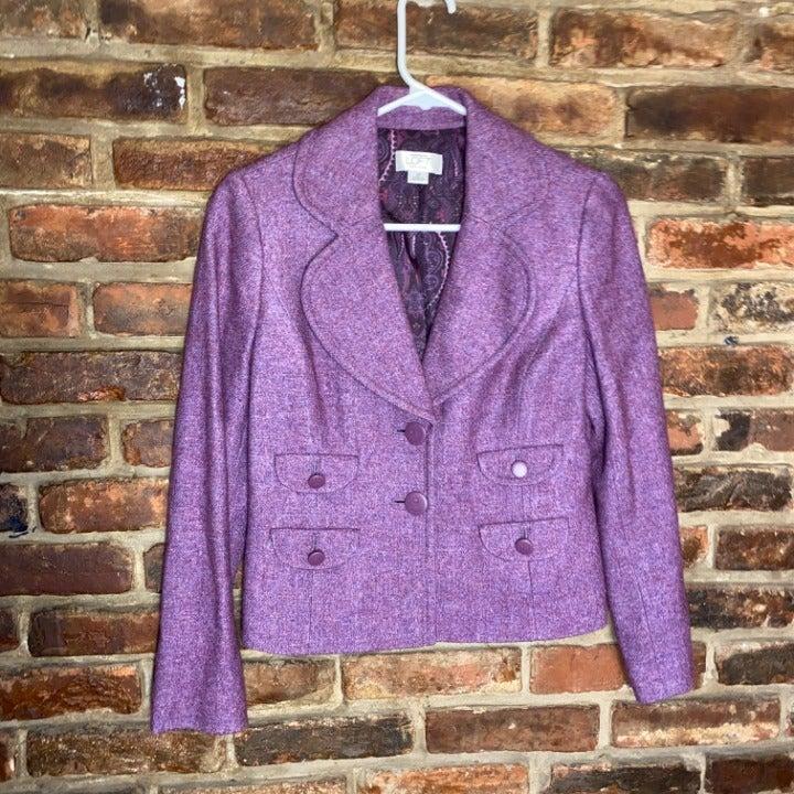 LOFT 2-Button Purple Wool Blazer Size 2P