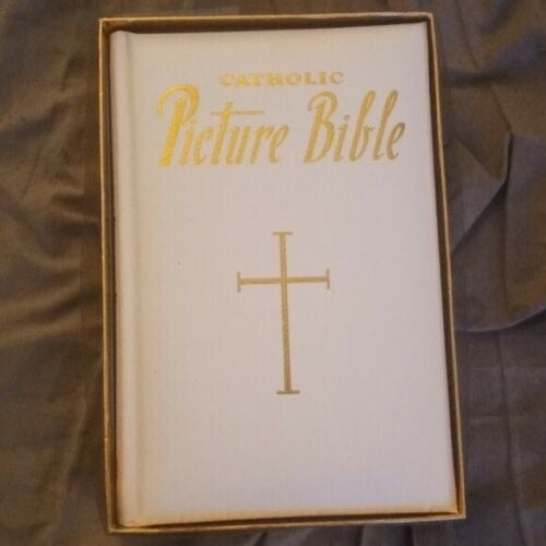 CATHOLIC PICTURE BIBLE White & Gold