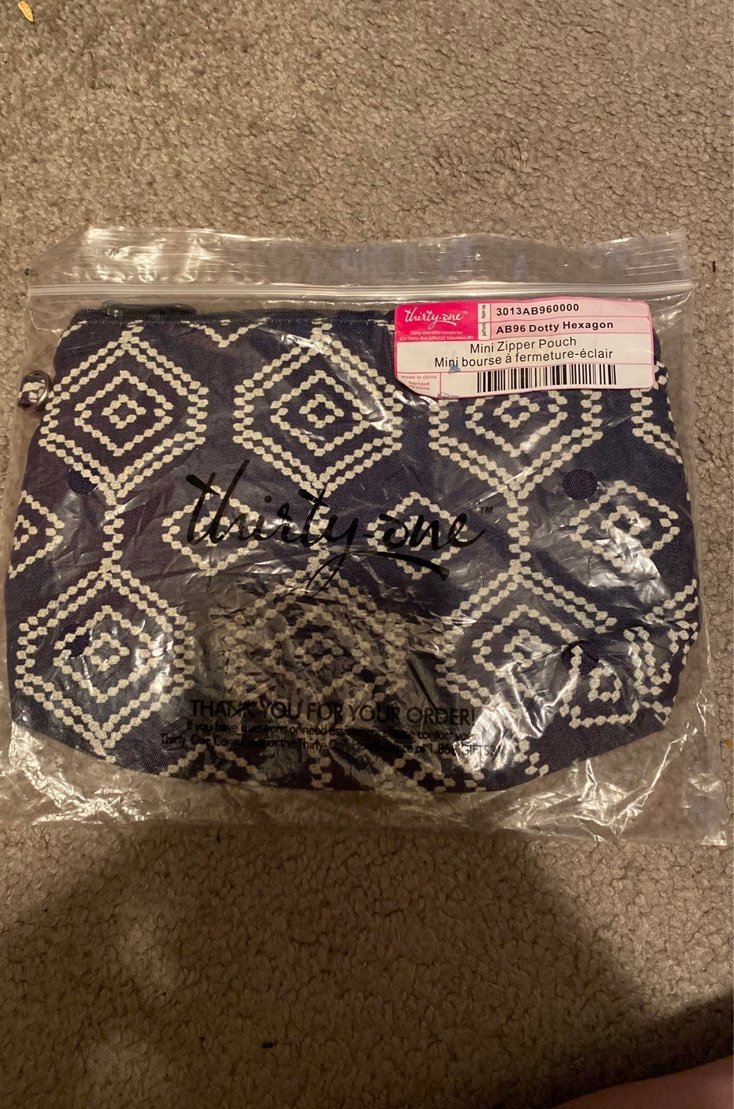 Thirty-One mini zippered pouch