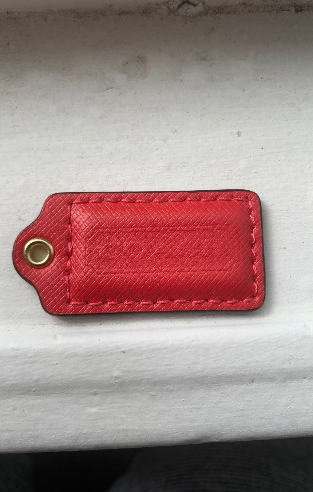 Coach Red Texture Leather Hang Tag Fob