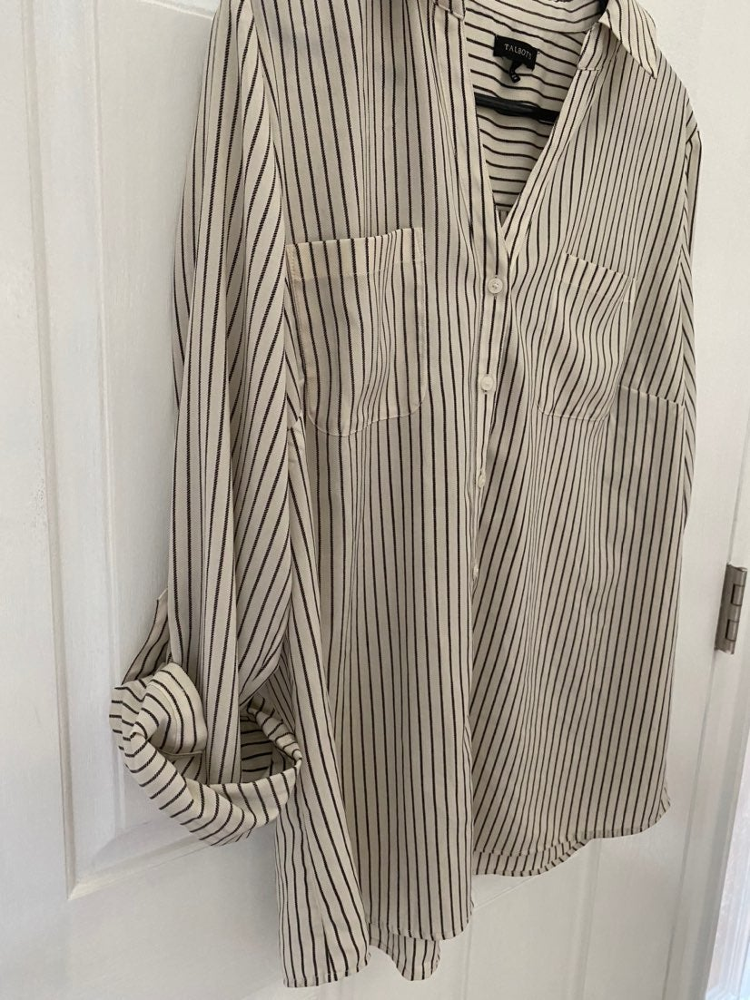 TALBOTS ladies pinestripe silky top L