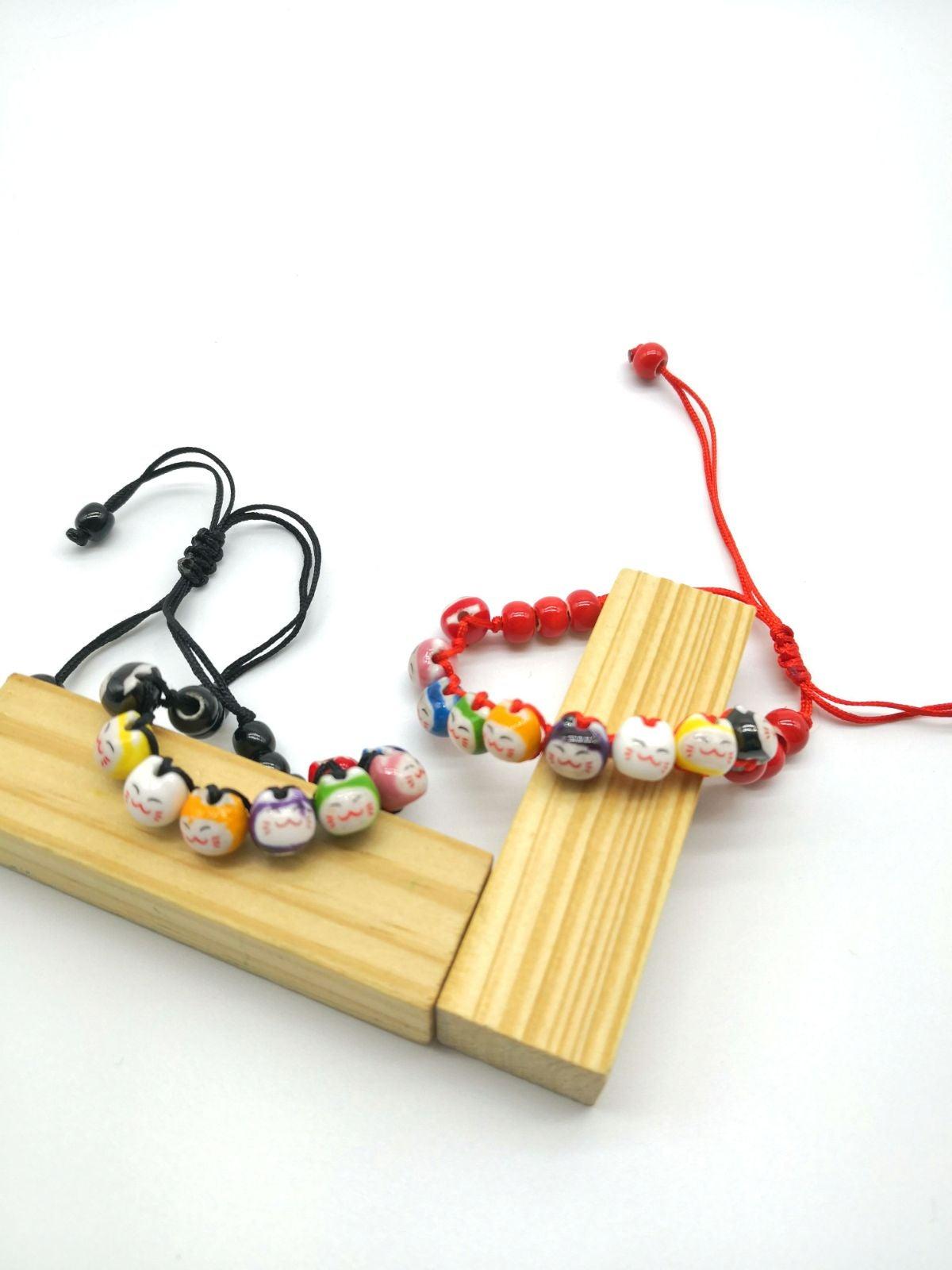 Black or Red Smiling EMOJI Cat Bracelets
