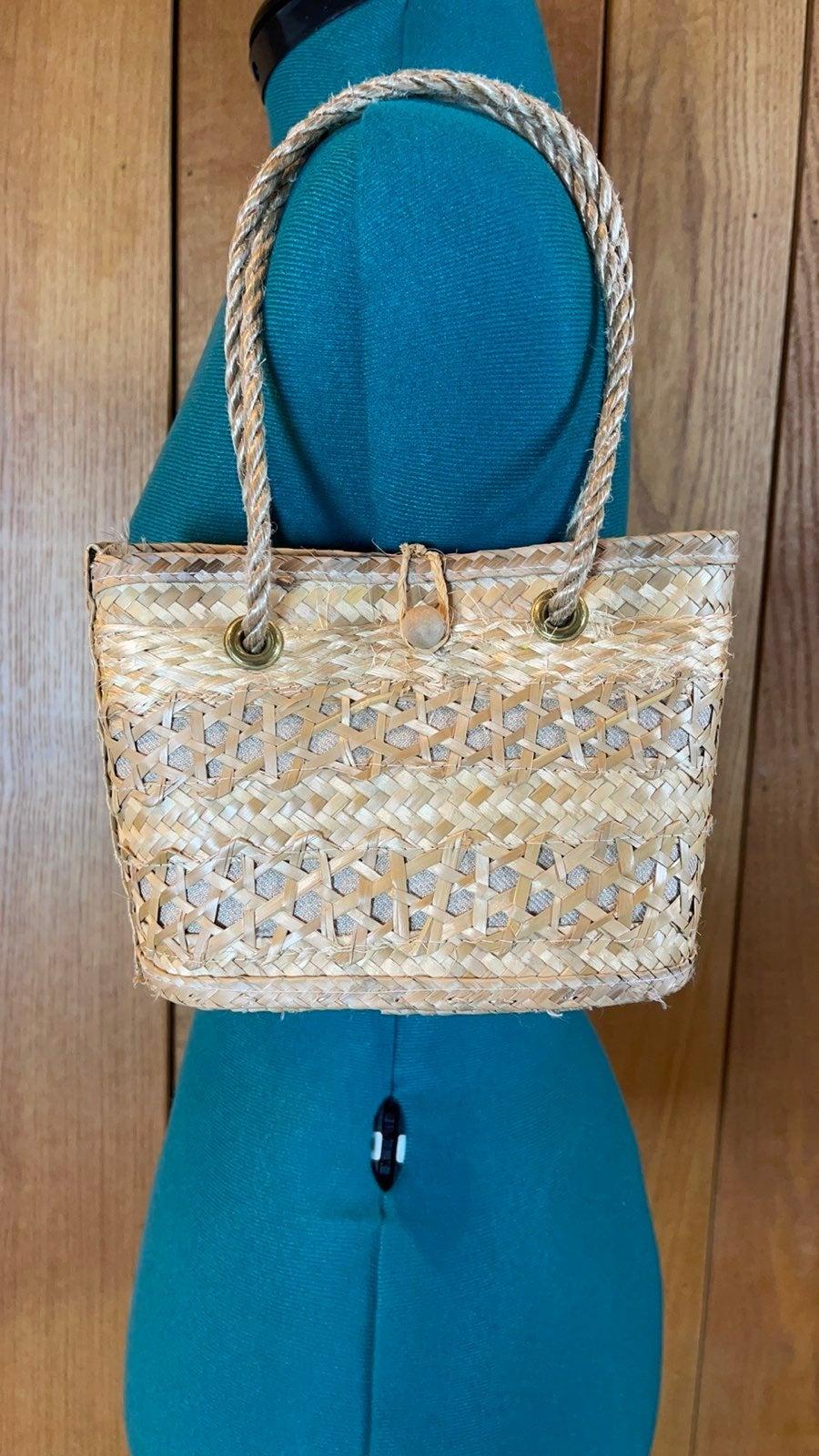 Natural Tan Woven Straw Hand Bag Small