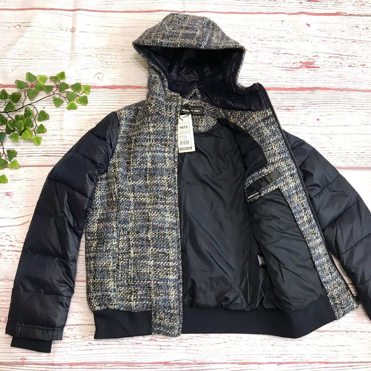 MEMBERS ONLY Jacket Tweed Puffer Wool bl