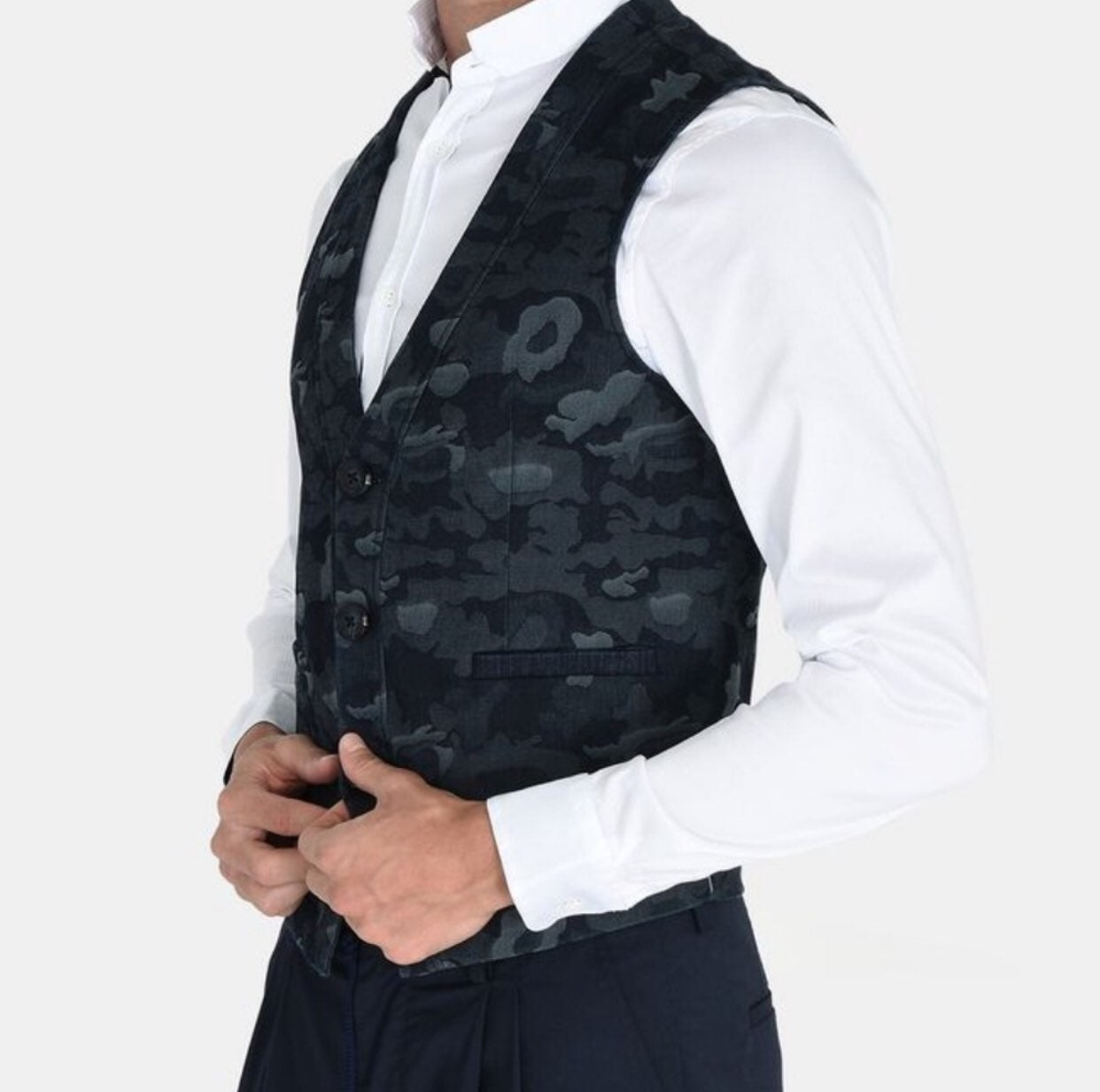 Armani Exchange Blue Camo Denim Vest