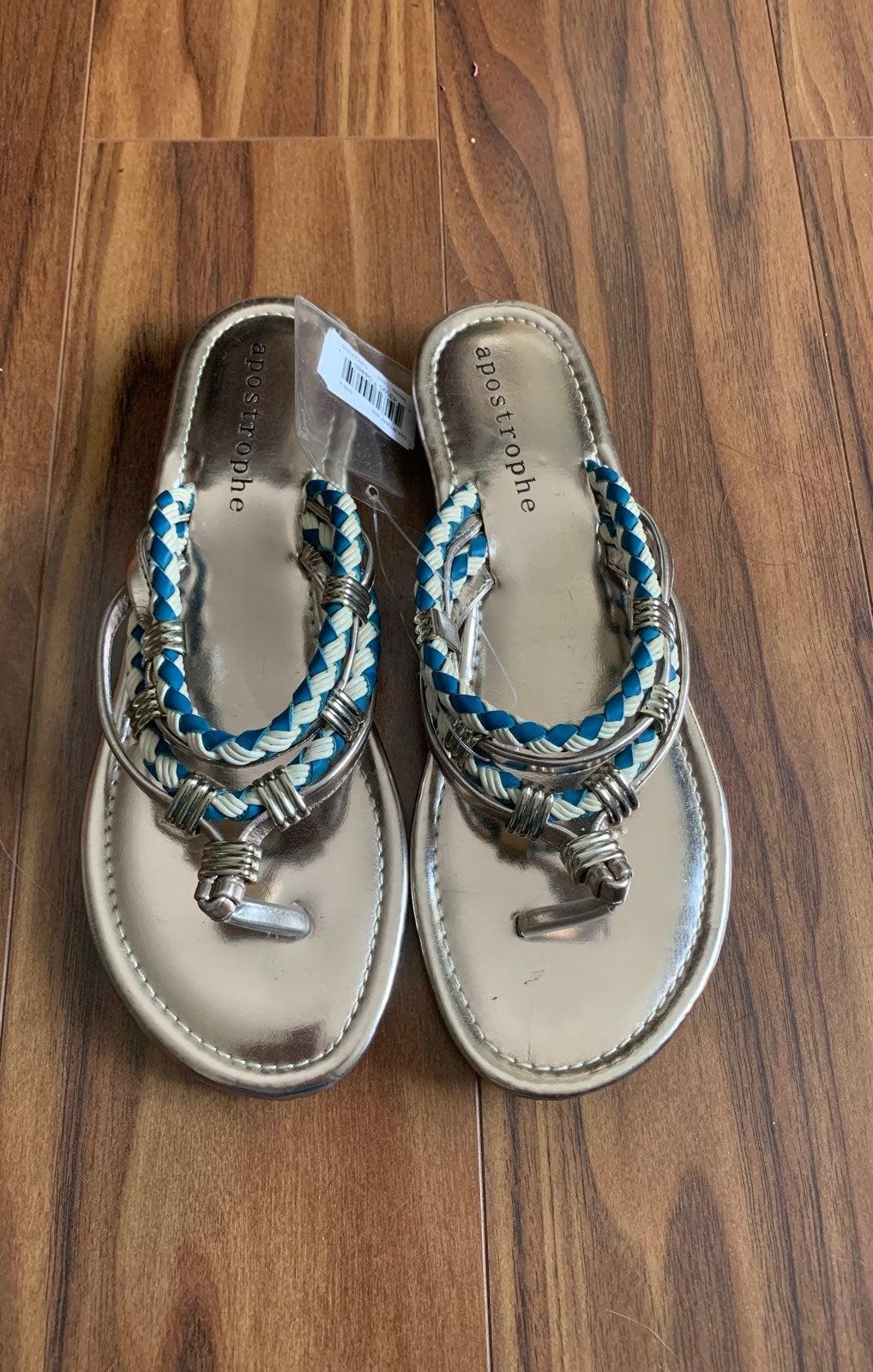 Apostrophe Sandals turquoise gold sz 6