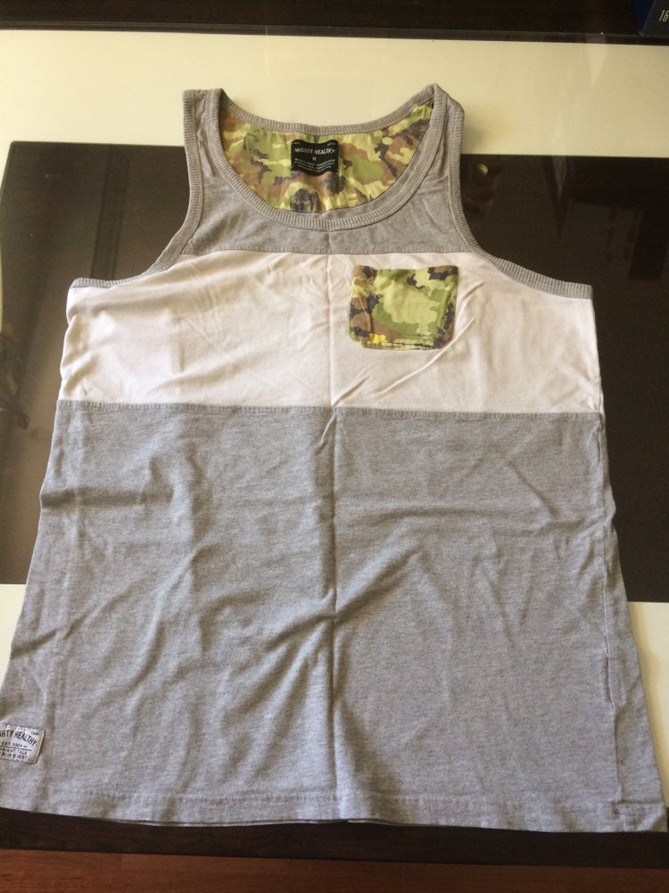 Camo Pocket Stripe Tank Top Shirt