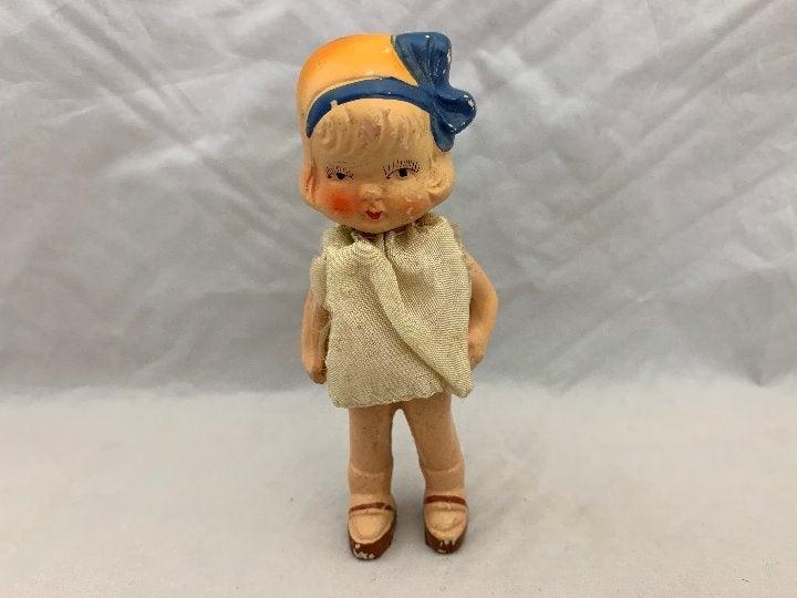 """Vintage Porcelain Bisque Doll 4.5"""" Japan"""