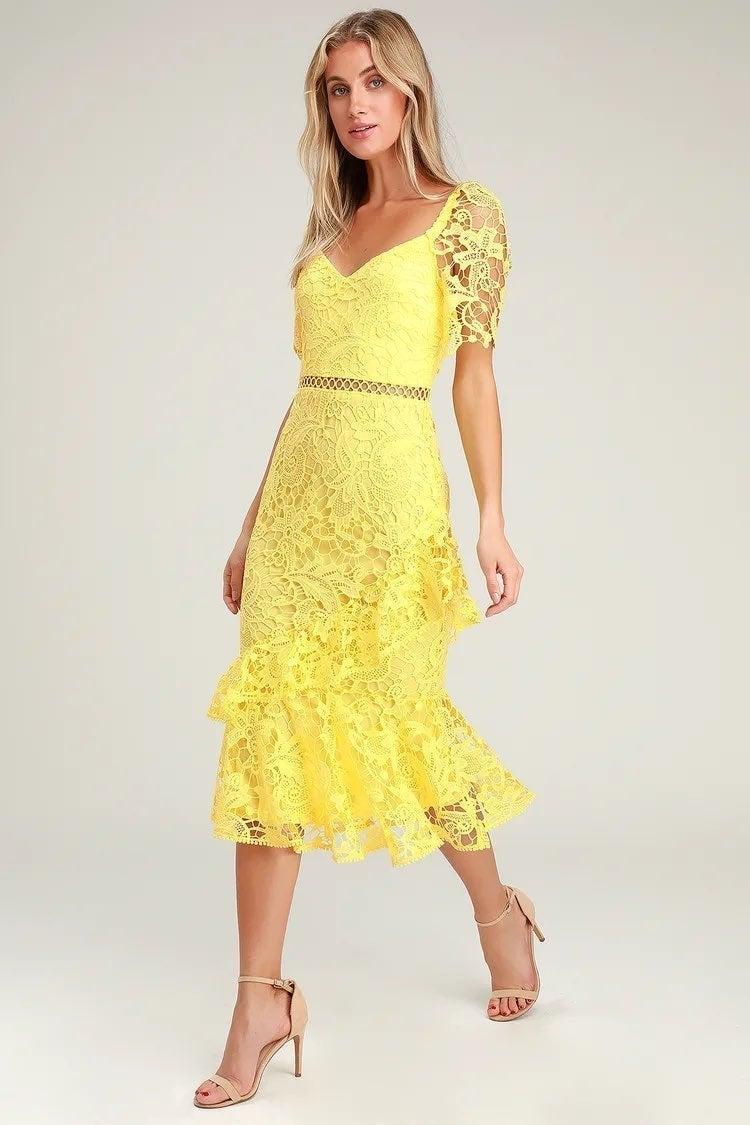 Yellow Lace Ruffled Midi Dress