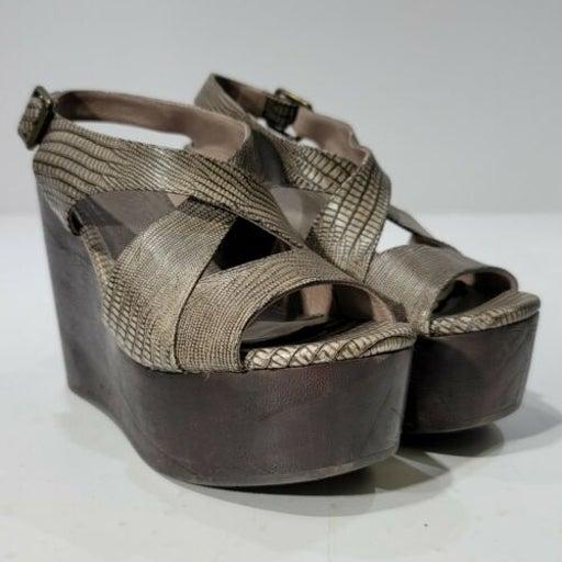 Womens Joie Gray snake Print wedge Platform High Heel open toe shoe size 36