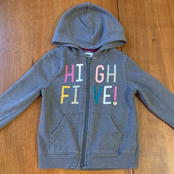 "Old Navy gray hoodie ""High Five"" size 4T"
