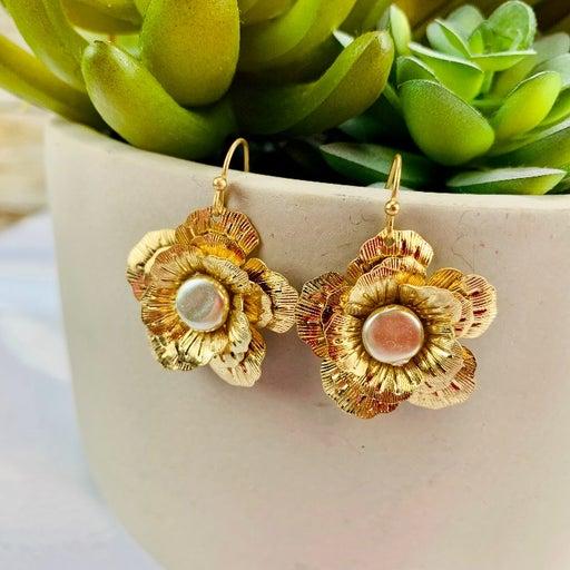 Faux Pearl Goldtone Magnolia Earrings