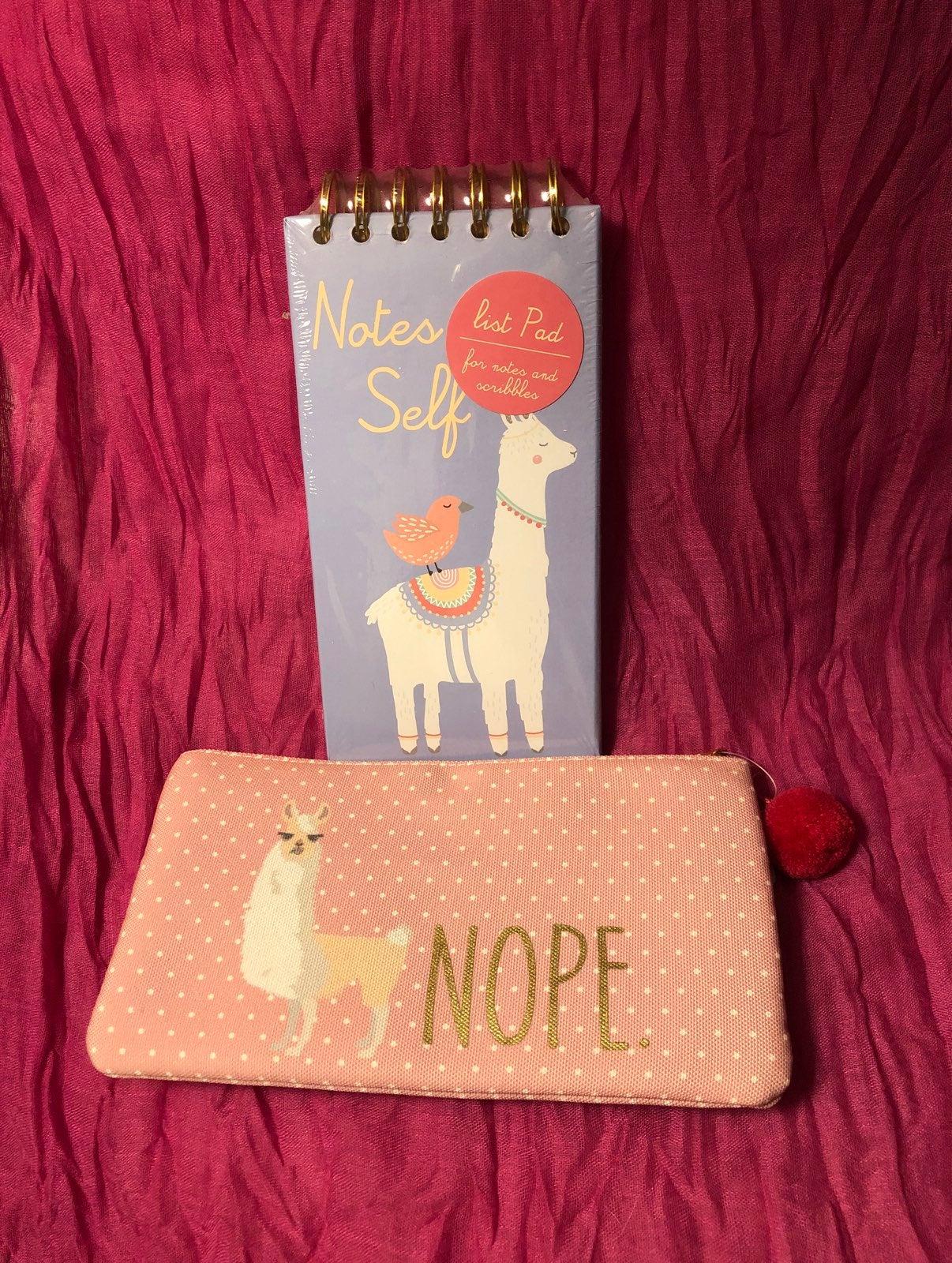 Llama accessory bag and notepad