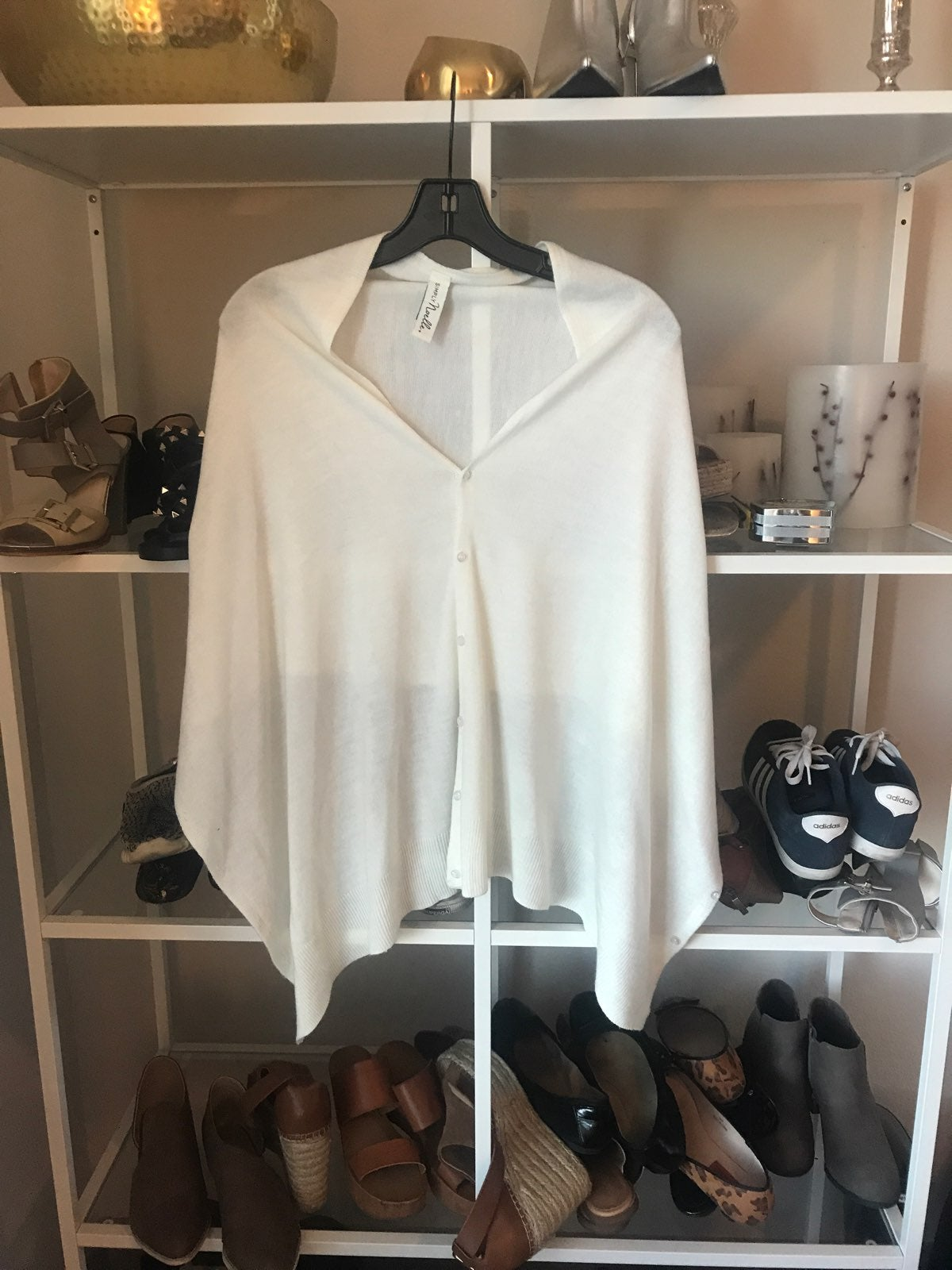 White Button Up Pull Over Shawl