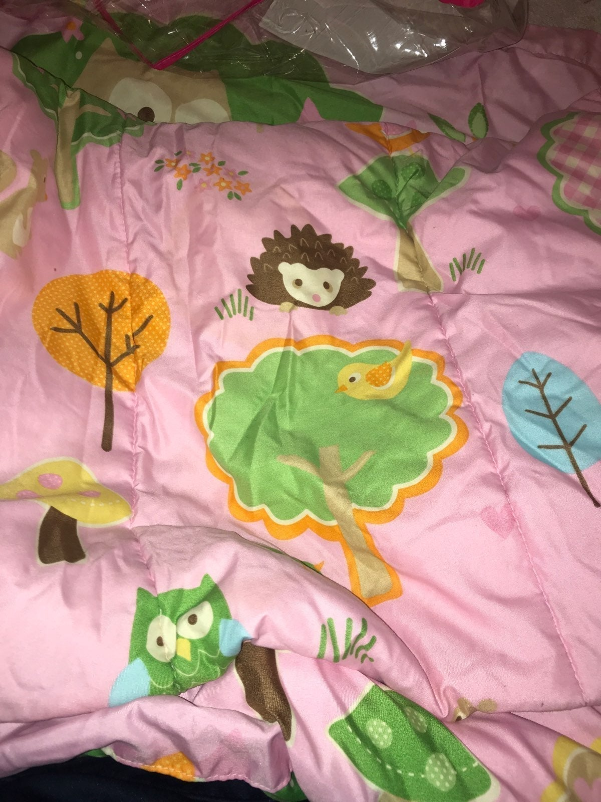 Owl Twin Size Bed Spread W/ Lamp & Owls