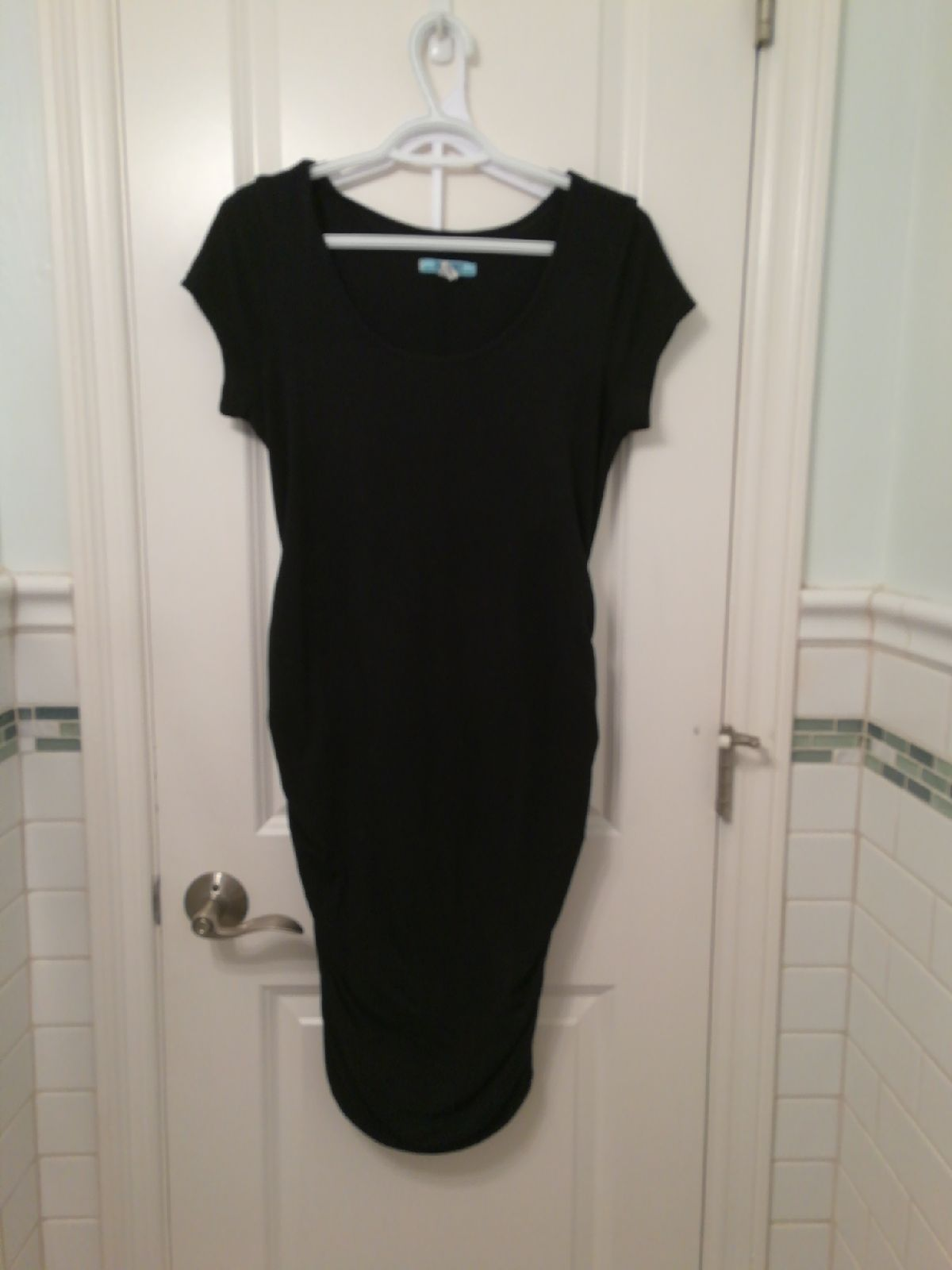 Black Ruched Maternity Dress